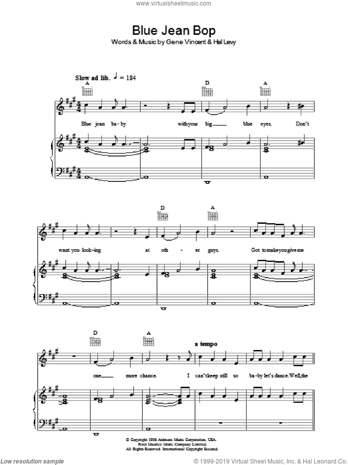 Blue Jean Bop sheet music for voice, piano or guitar by Paul McCartney and Gene Vincent, intermediate voice, piano or guitar. Score Image Preview.