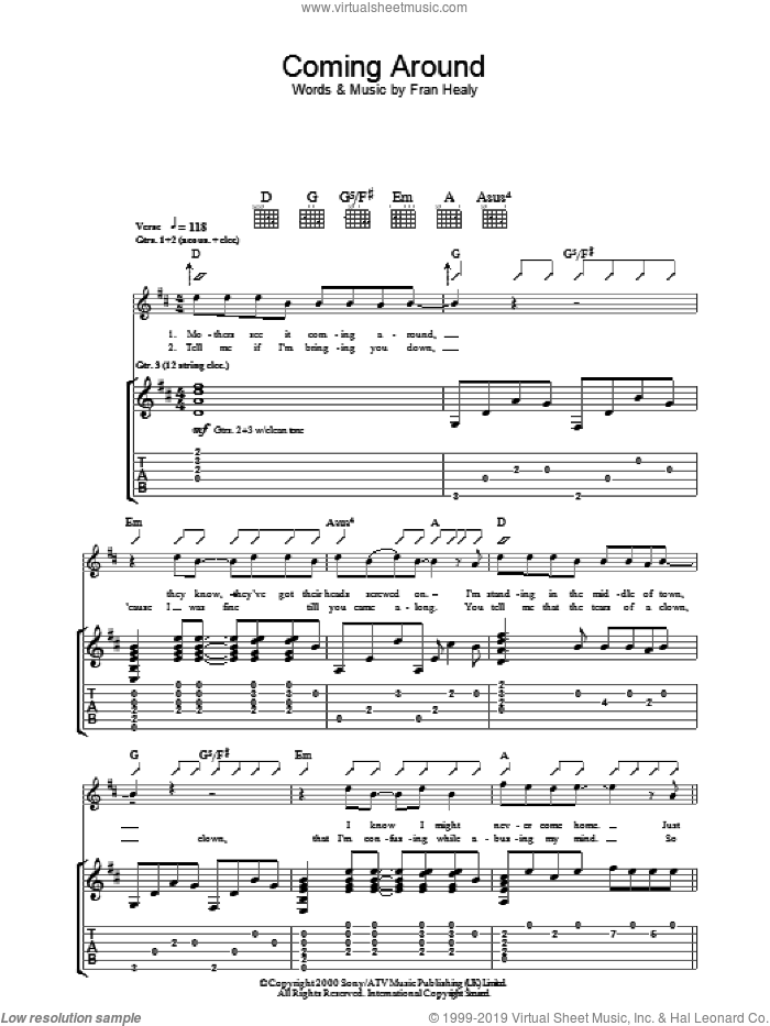 Coming Around sheet music for guitar (tablature) by Merle Travis and Fran Healy, intermediate