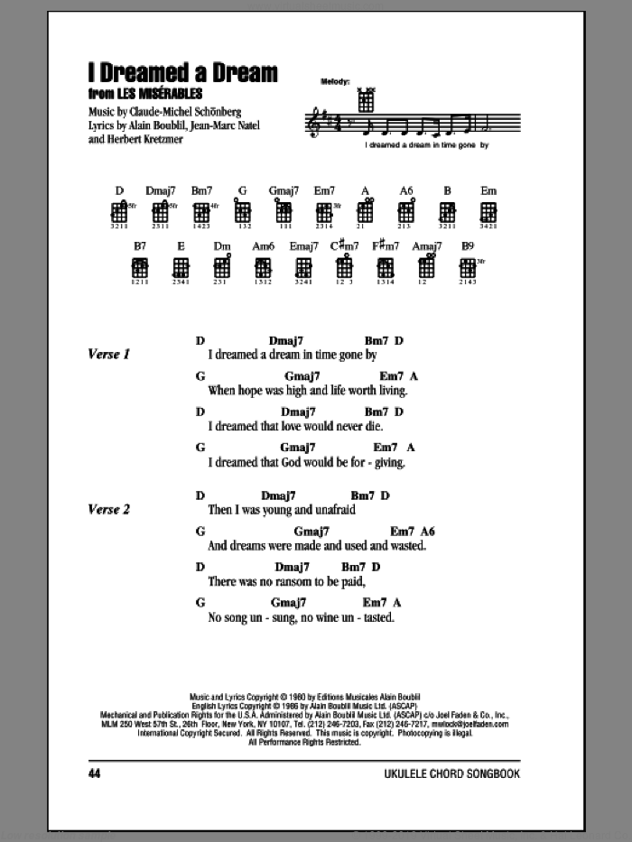 I Dreamed A Dream sheet music for ukulele (chords) by Claude-Michel Schonberg, Alain Boublil, Herbert Kretzmer and Susan Boyle, intermediate ukulele (chords). Score Image Preview.