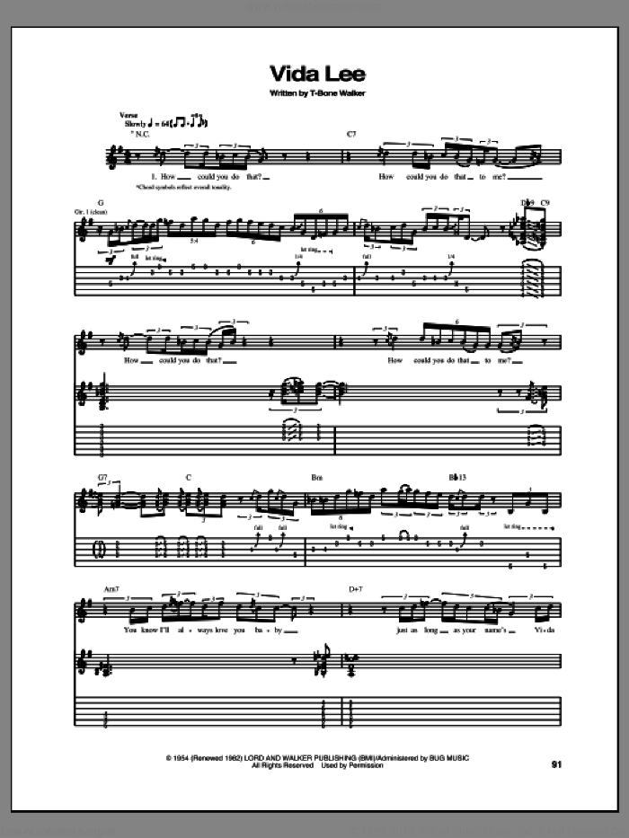 Vida Lee sheet music for guitar (tablature) by Aaron 'T-Bone' Walker, intermediate skill level