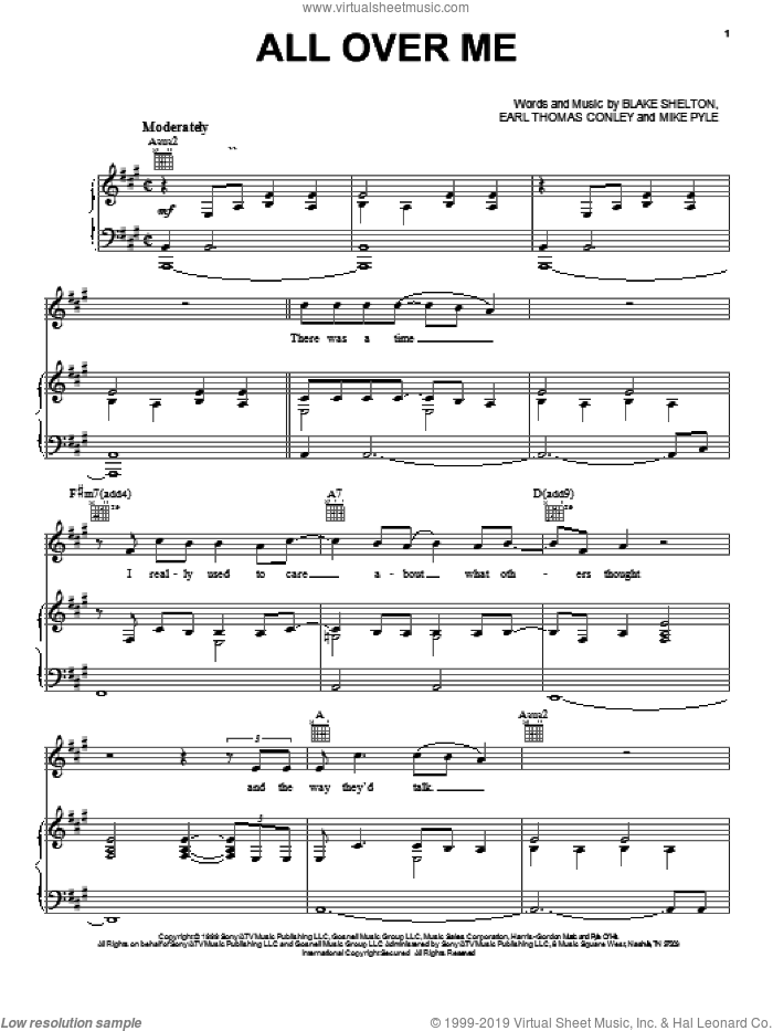 All Over Me sheet music for voice, piano or guitar by Blake Shelton and Earl Thomas Conley. Score Image Preview.