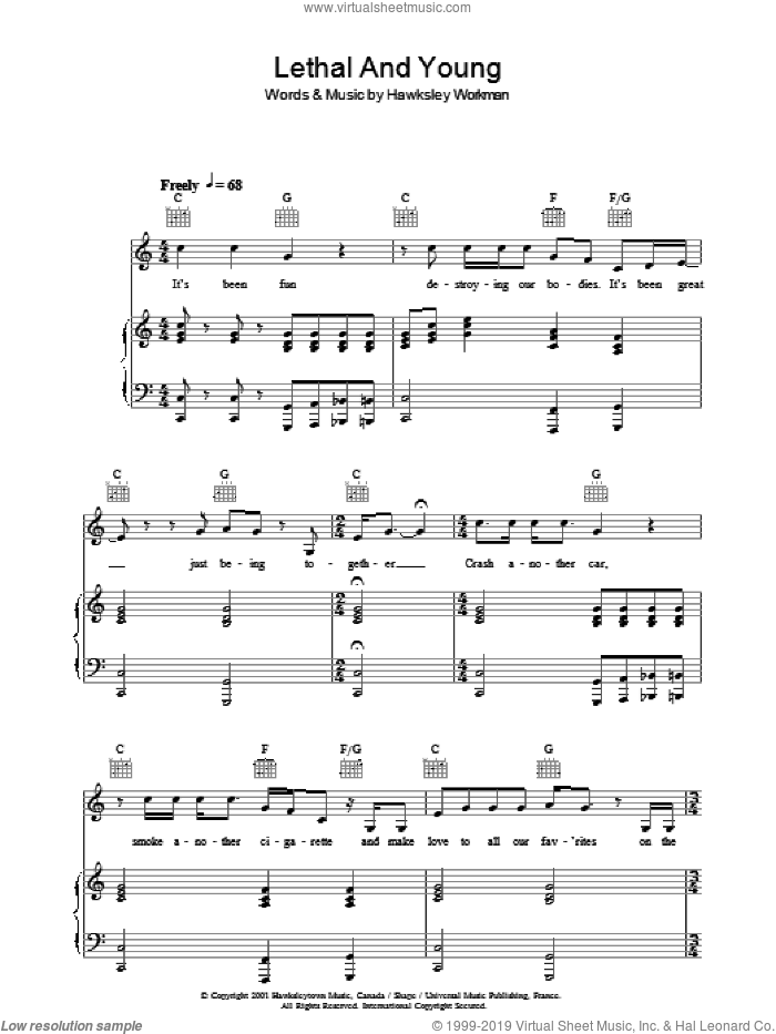 Lethal And Young sheet music for voice, piano or guitar by Hawksley Workman. Score Image Preview.
