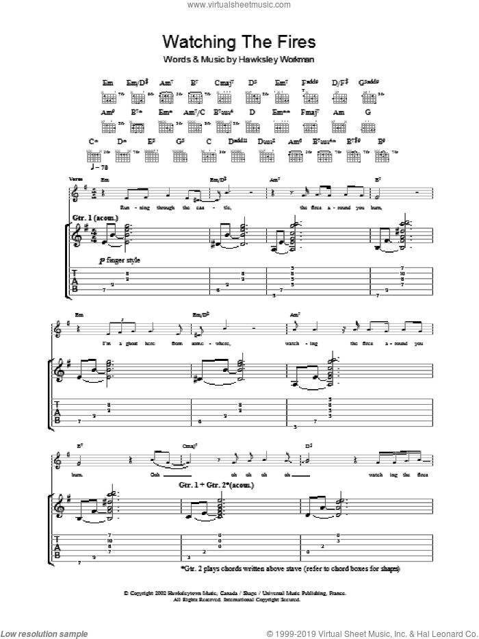 Watching The Fires sheet music for guitar (tablature) by Hawksley Workman