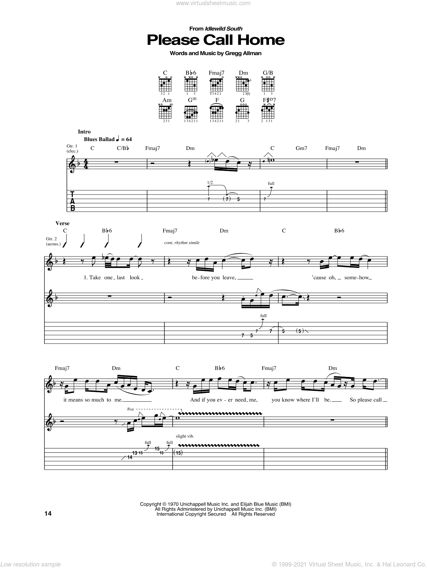 Please Call Home sheet music for guitar (tablature) by Allman Brothers Band and Gregg Allman. Score Image Preview.