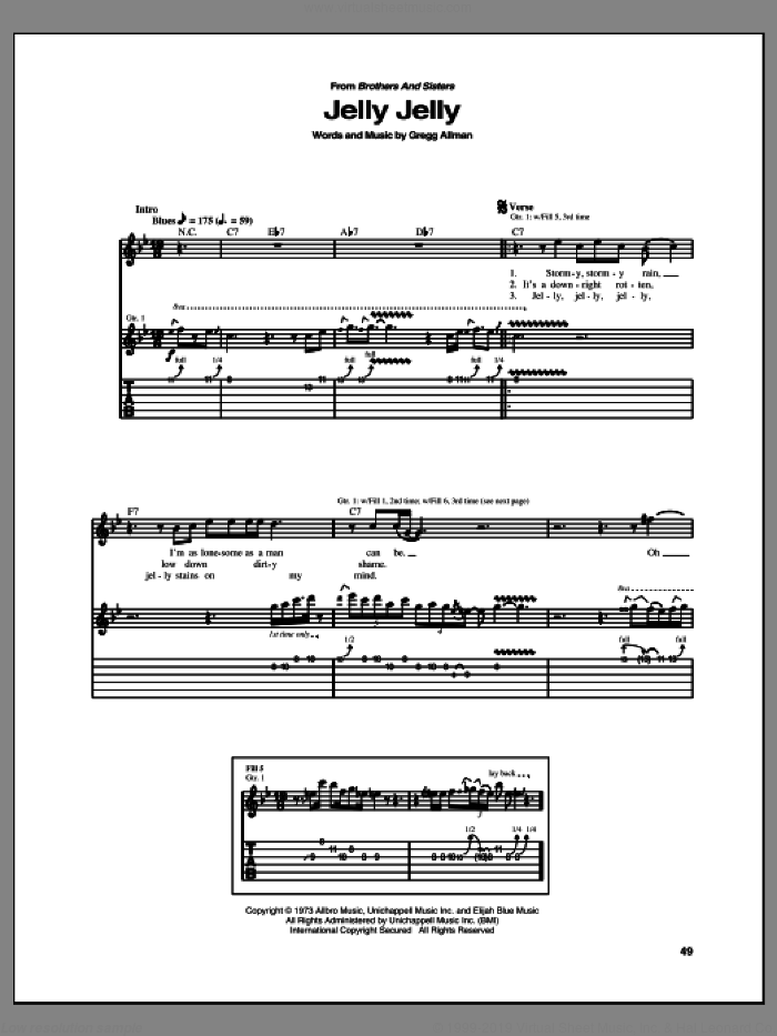 Jelly Jelly sheet music for guitar (tablature) by Allman Brothers Band and Gregg Allman, intermediate skill level