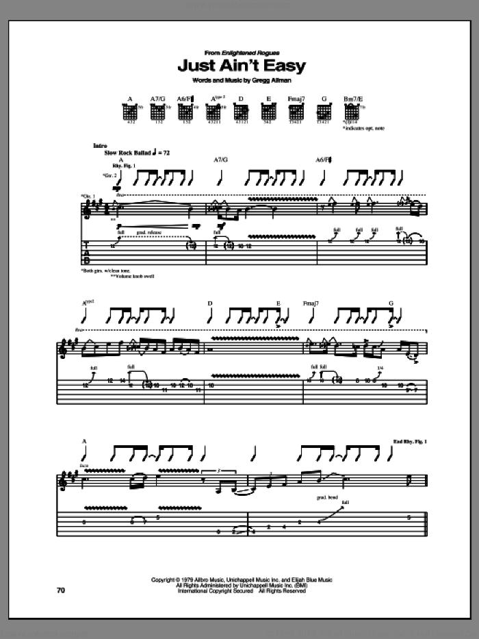 Just Ain't Easy sheet music for guitar (tablature) by Gregg Allman, intermediate skill level