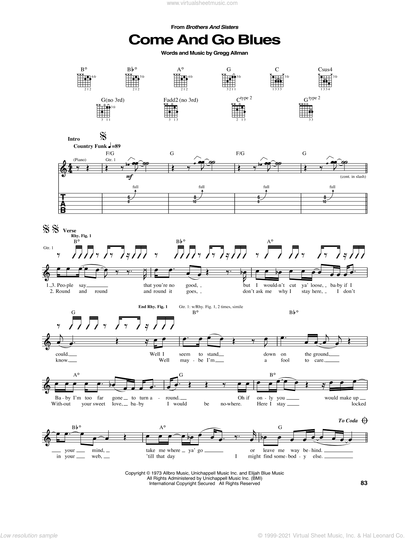 Come And Go Blues sheet music for guitar (tablature) by Allman Brothers, Allman Brothers Band and Gregg Allman, intermediate guitar (tablature). Score Image Preview.