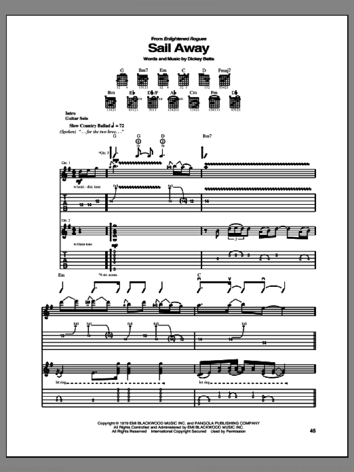 Sail Away sheet music for guitar (tablature) by Allman Brothers Band, Dicket Betts and The Allman Brothers Band, intermediate