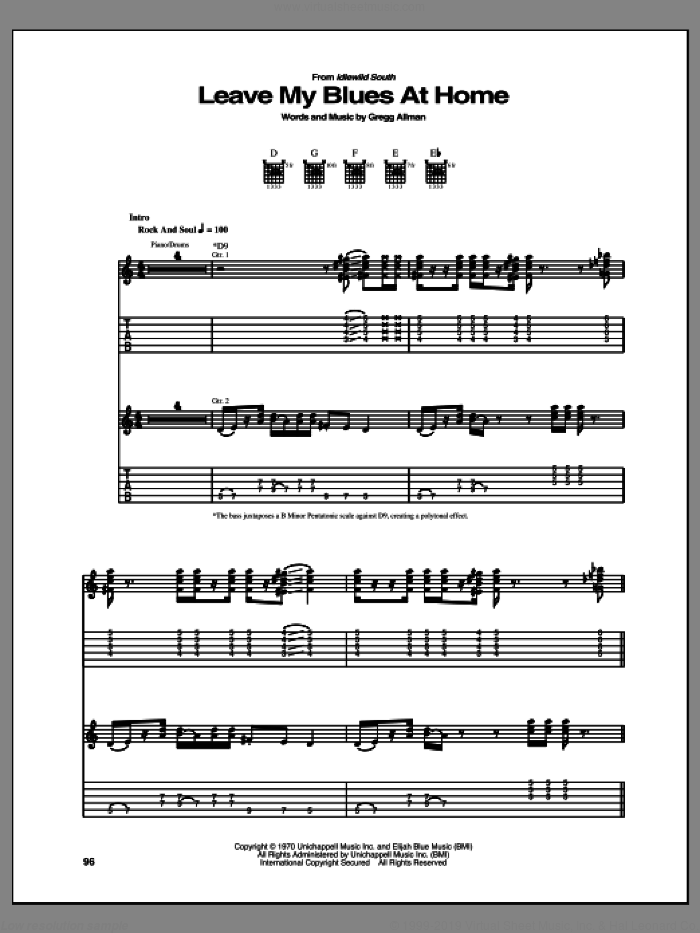 Leave My Blues At Home sheet music for guitar (tablature) by Allman Brothers Band and Gregg Allman, intermediate skill level