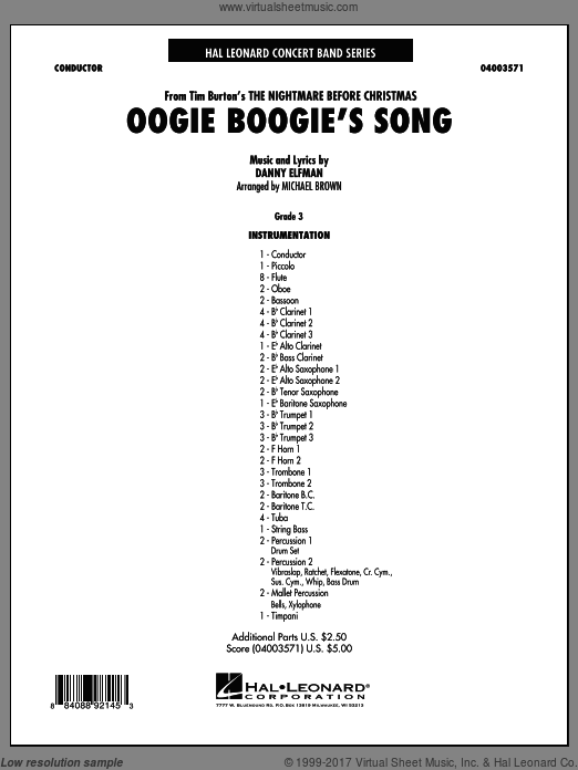Oogie Boogie's Song (from The Nightmare Before Christmas) (COMPLETE) sheet music for concert band by Danny Elfman