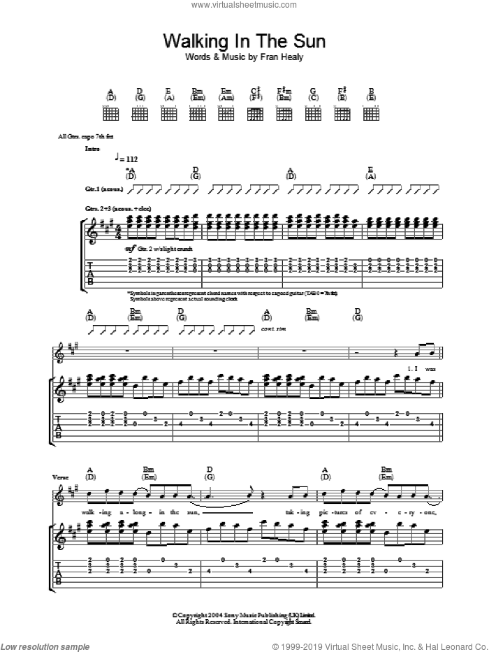Walking In The Sun sheet music for guitar (tablature) by Fran Healy