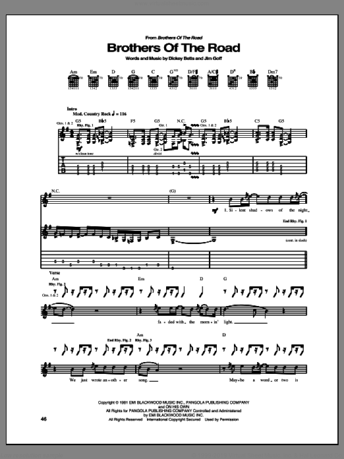 Brothers Of The Road sheet music for guitar (tablature) by Allman Brothers and Allman Brothers Band. Score Image Preview.
