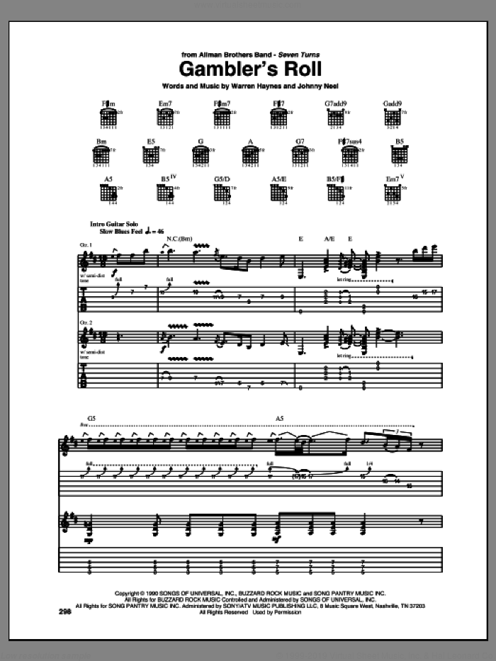 Gambler's Roll sheet music for guitar (tablature) by Allman Brothers and Allman Brothers Band. Score Image Preview.