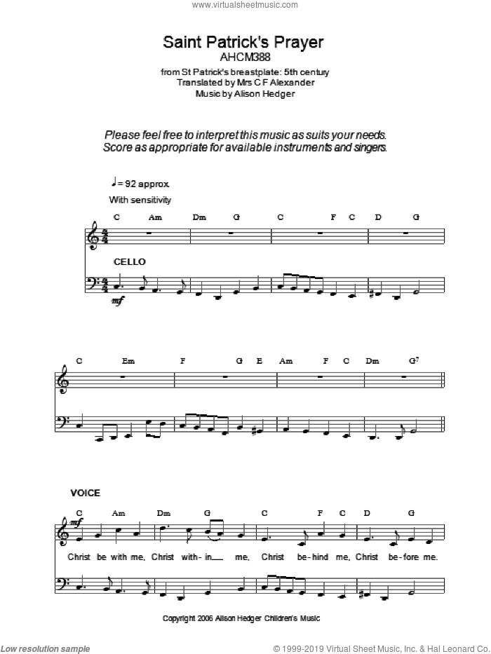 Saint Patrick's Prayer sheet music for voice, piano or guitar  and Alison Hedger. Score Image Preview.