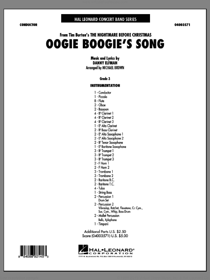 Oogie Boogie's Song (from The Nightmare Before Christmas) (COMPLETE) sheet music for concert band by Danny Elfman and Michael Brown, intermediate. Score Image Preview.