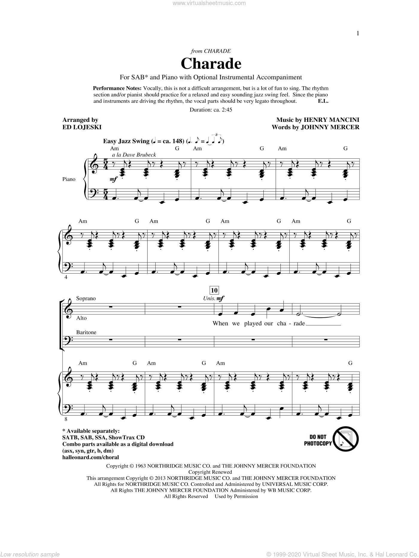 Charade sheet music for choir (SAB) by Ed Lojeski, Andy Williams, Henry Mancini, Johnny Mercer and Sammy Kaye. Score Image Preview.