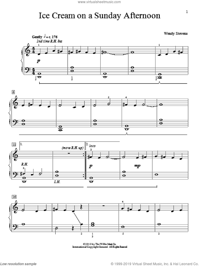 Ice Cream On A Sunday Afternoon sheet music for piano solo (elementary) by Wendy Stevens, beginner piano (elementary)