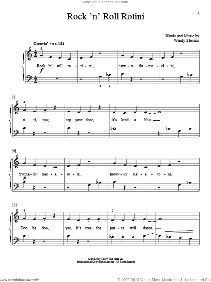 Rock 'N' Roll Rotini sheet music for piano solo (elementary) by Wendy Stevens, beginner piano (elementary)