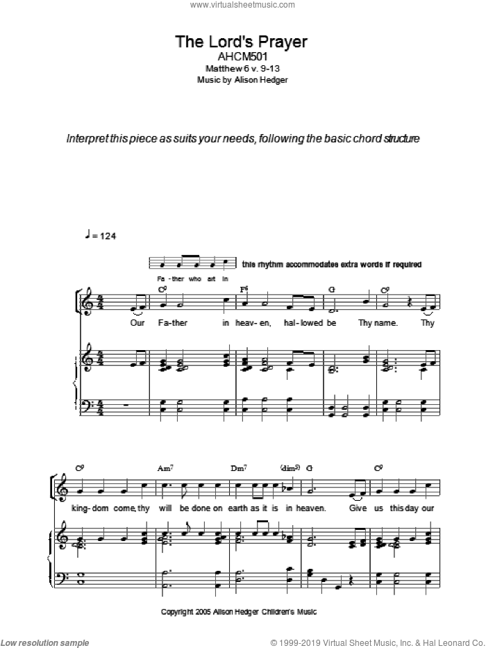 The Lord's Prayer sheet music for voice, piano or guitar  and Alison Hedger. Score Image Preview.