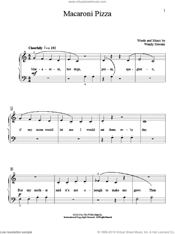 Macaroni Pizza sheet music for piano solo (elementary) by Wendy Stevens. Score Image Preview.
