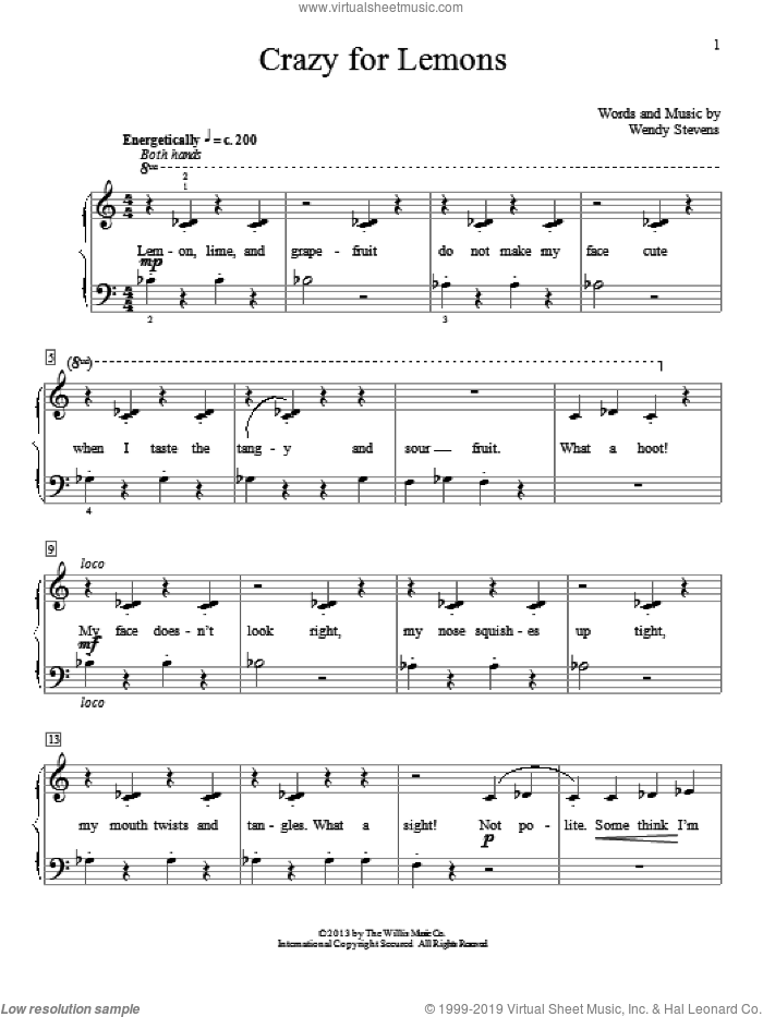 Crazy For Lemons sheet music for piano solo (elementary) by Wendy Stevens. Score Image Preview.
