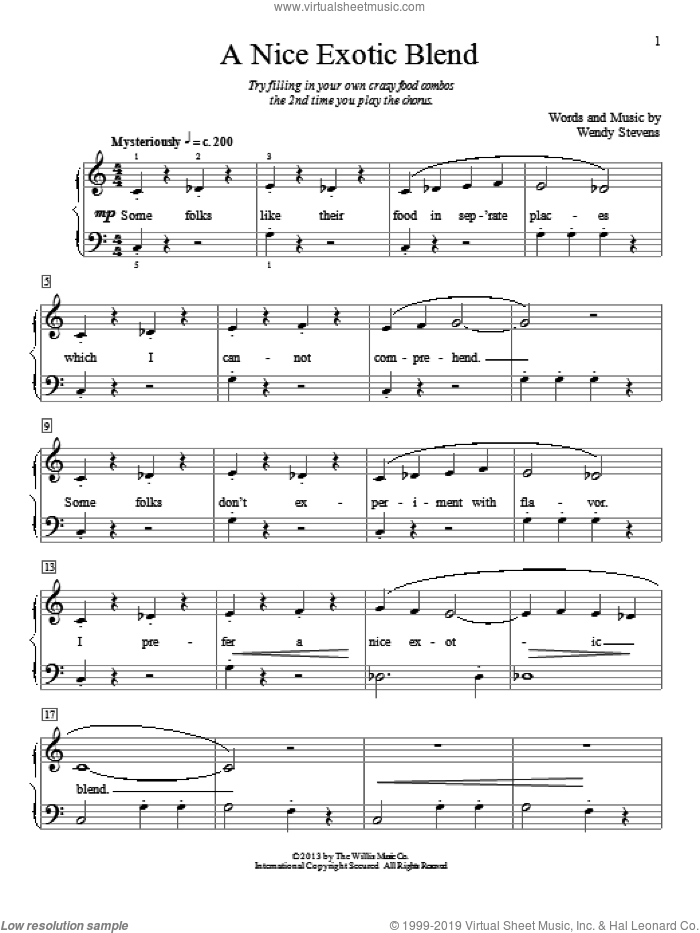 A Nice Exotic Blend sheet music for piano solo (elementary) by Wendy Stevens. Score Image Preview.