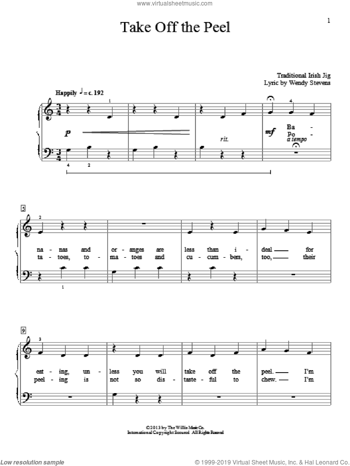 Take Off The Peel sheet music for piano solo (elementary) by Wendy Stevens. Score Image Preview.