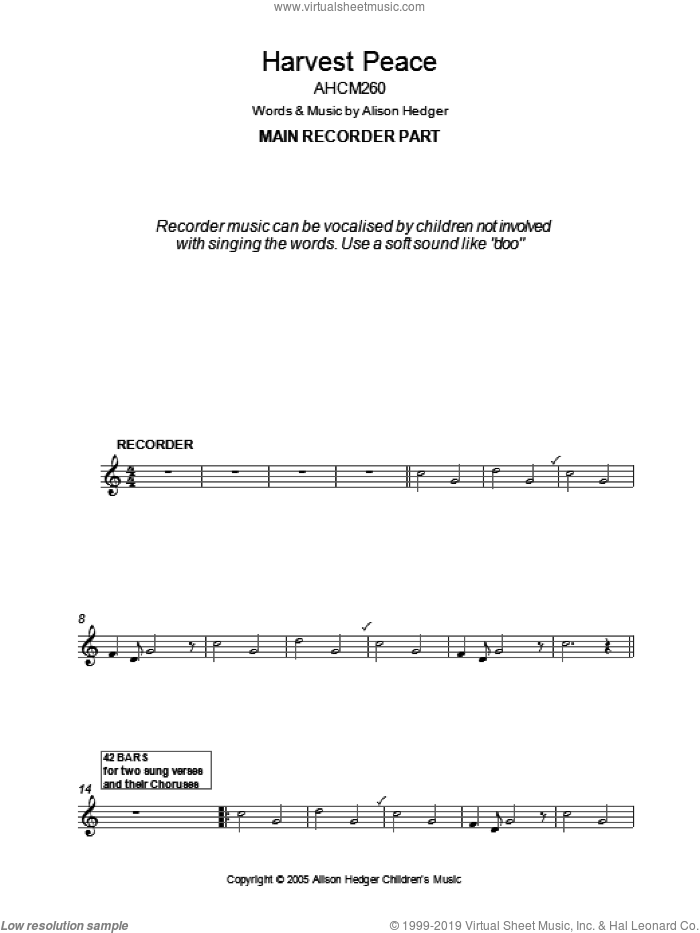 Harvest Peace (Recorder Part) sheet music for voice and other instruments (fake book) by Alison Hedger. Score Image Preview.