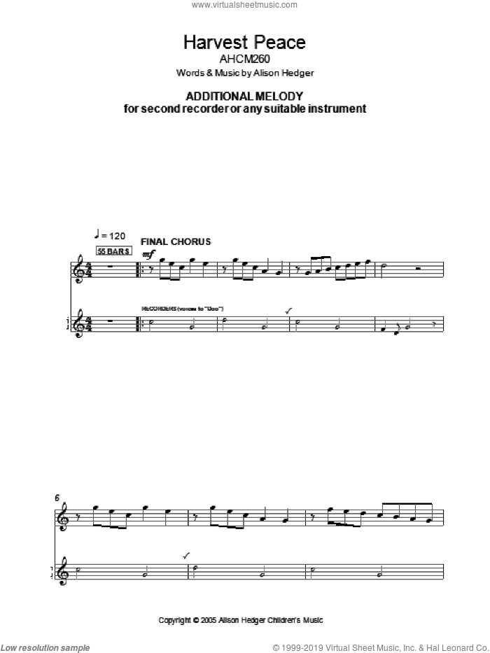 Harvest Peace (Additional Melody Part) sheet music for voice and other instruments (fake book) by Alison Hedger. Score Image Preview.