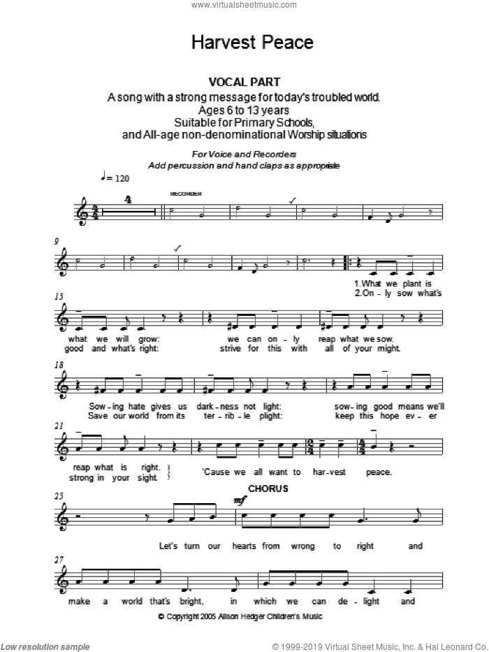 Harvest Peace (Vocal Part) sheet music for voice and other instruments (fake book) by Alison Hedger, intermediate skill level