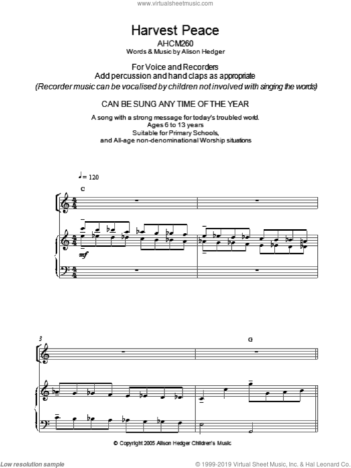 Harvest Peace sheet music for voice, piano or guitar by Alison Hedger. Score Image Preview.