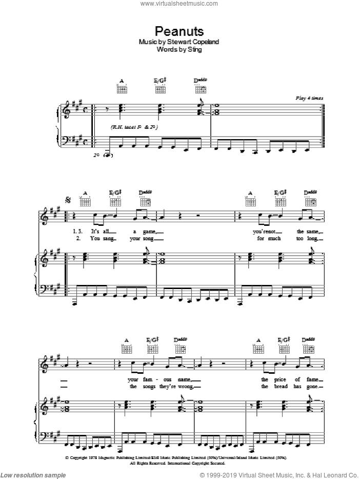 Peanuts sheet music for voice, piano or guitar by The Police and Sting, intermediate voice, piano or guitar. Score Image Preview.