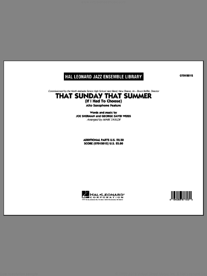 That Sunday That Summer (If I Had to Choose) sheet music for jazz band (full score) by Mark Taylor