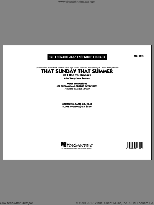 That Sunday That Summer (If I Had to Choose) (COMPLETE) sheet music for jazz band by Mark Taylor, intermediate. Score Image Preview.