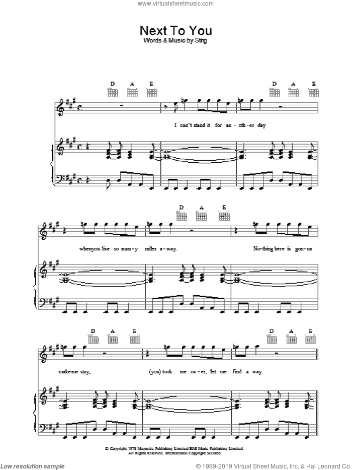 Next To You sheet music for voice, piano or guitar by The Police