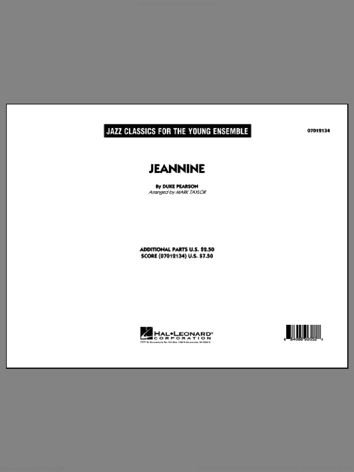 Jeannine (COMPLETE) sheet music for jazz band by Mark Taylor, Cannonball Adderley and Duke Pearson, intermediate skill level