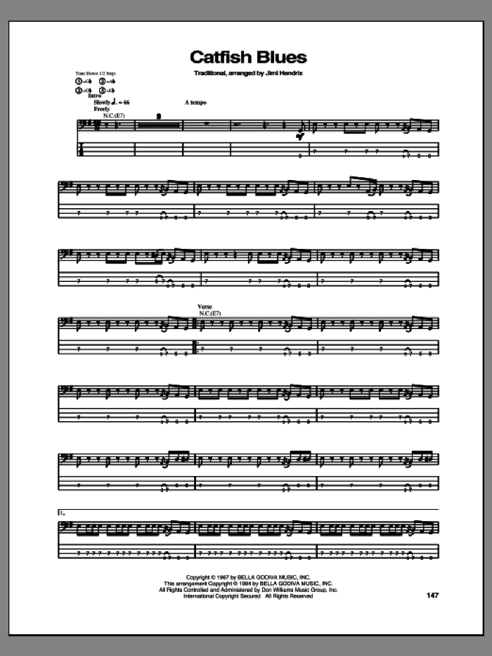 Catfish Blues sheet music for bass (tablature) (bass guitar) by Jimi Hendrix. Score Image Preview.