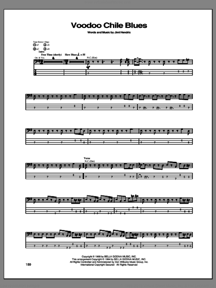 Voodoo Chile Blues sheet music for bass (tablature) (bass guitar) by Jimi Hendrix, intermediate bass (tablature) (bass guitar). Score Image Preview.