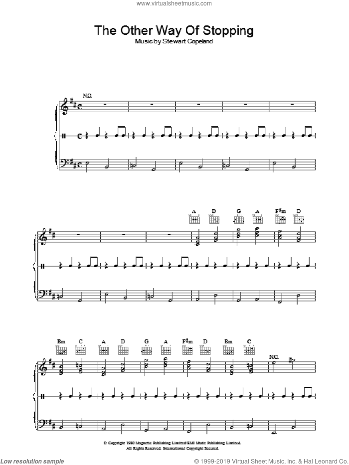 The Other Way Of Stopping sheet music for piano solo by The Police, intermediate. Score Image Preview.