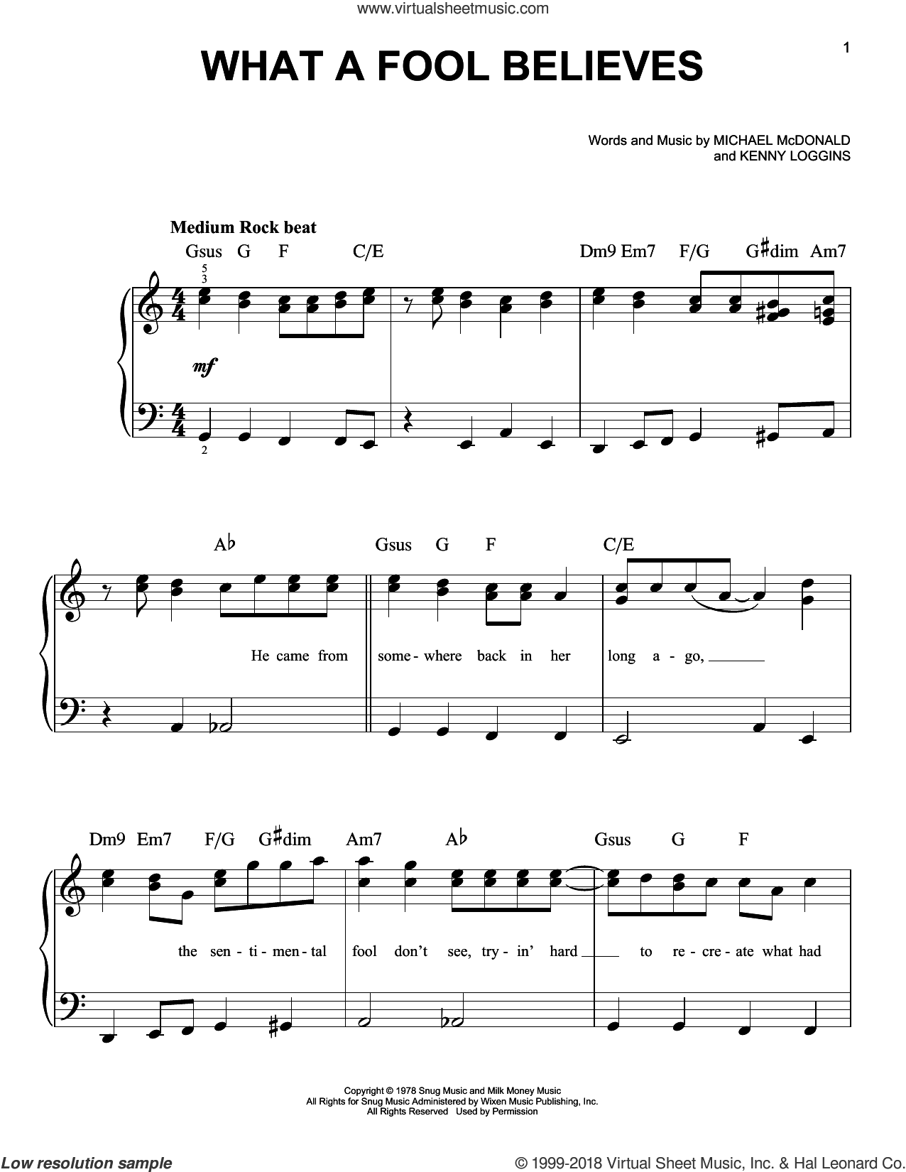 What A Fool Believes, (beginner) sheet music for piano solo by The Doobie Brothers, Kenny Loggins and Michael McDonald, beginner skill level