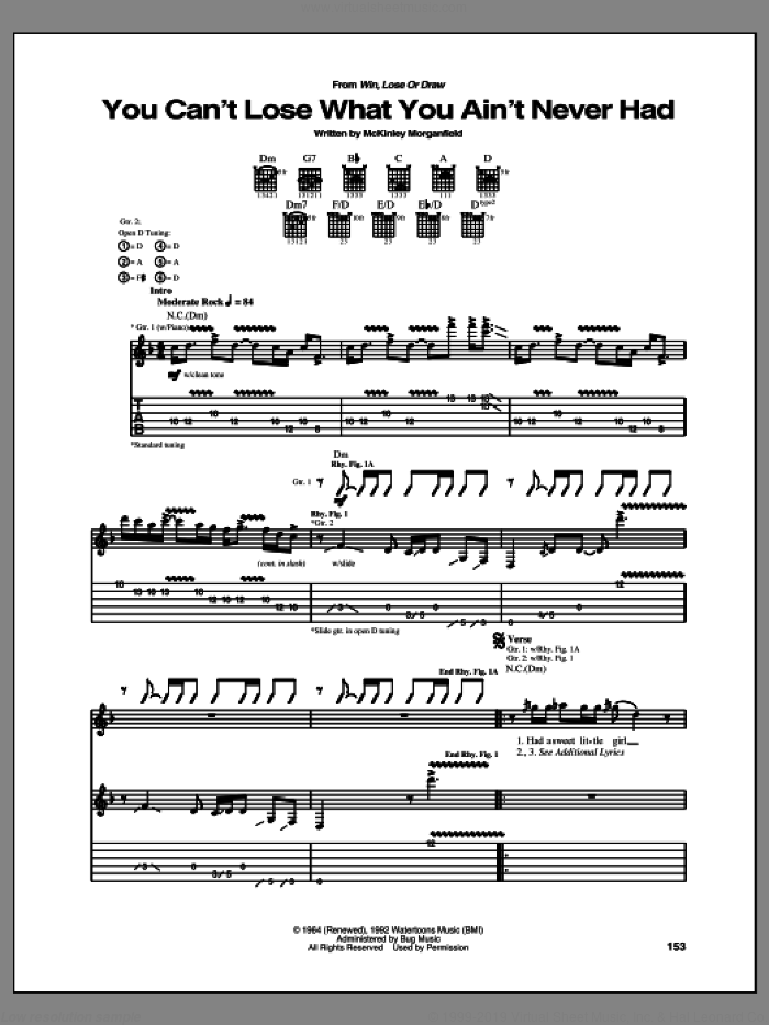 You Can't Lose What You Ain't Never Had sheet music for guitar (tablature) by Allman Brothers Band and Muddy Waters, intermediate skill level