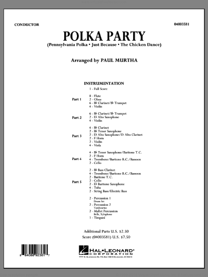 Polka Party (COMPLETE) sheet music for concert band by Paul Murtha, intermediate concert band. Score Image Preview.