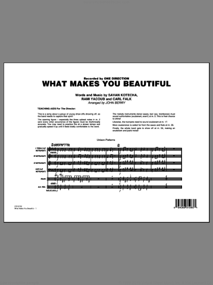 What Makes You Beautiful (COMPLETE) sheet music for jazz band by One Direction and John Berry, intermediate. Score Image Preview.