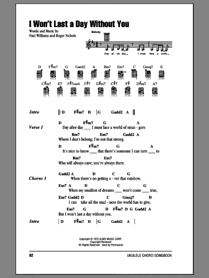 I Won't Last A Day Without You sheet music for ukulele (chords) by Roger Nichols, Carpenters and Paul Williams. Score Image Preview.