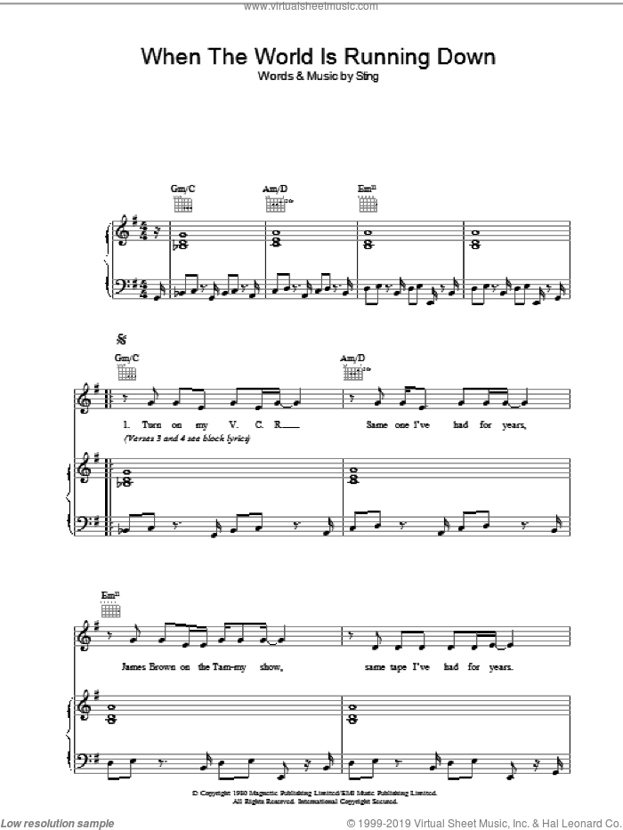 When The World Is Running Down sheet music for voice, piano or guitar by Sting and The Police. Score Image Preview.
