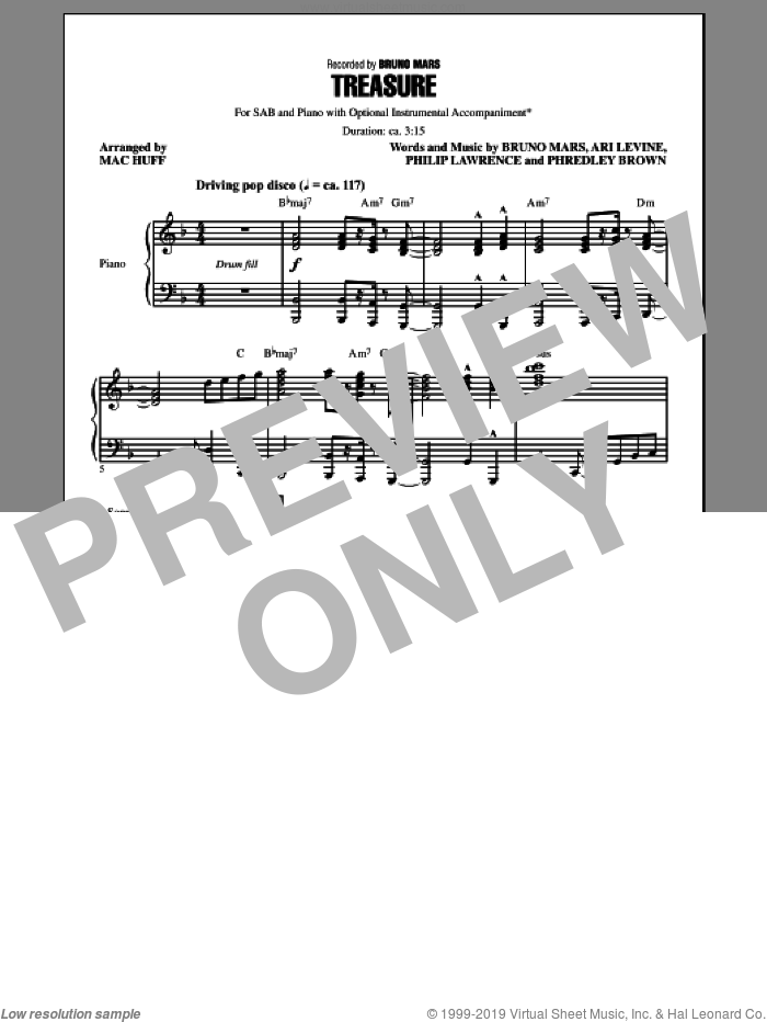 Treasure sheet music for choir (SAB: soprano, alto, bass) by Mac Huff and Bruno Mars, intermediate. Score Image Preview.