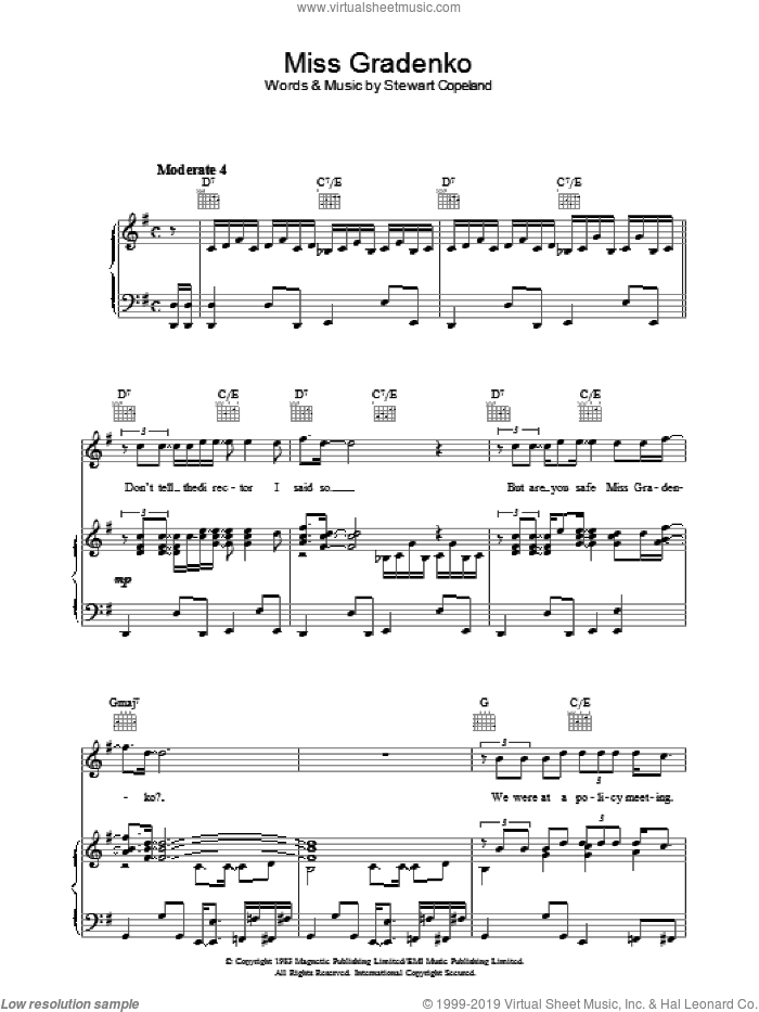Miss Gradenko sheet music for voice, piano or guitar by The Police. Score Image Preview.