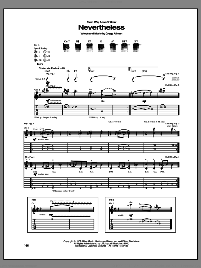 Nevertheless sheet music for guitar (tablature) by Allman Brothers Band. Score Image Preview.
