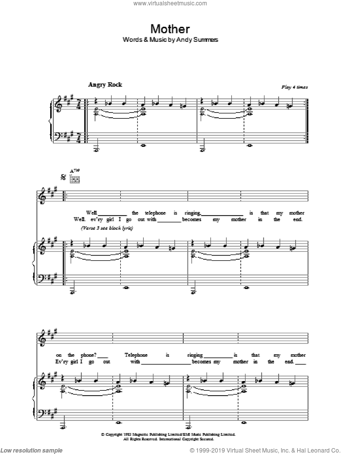 Mother sheet music for voice, piano or guitar by The Police and Andy Summers, intermediate skill level