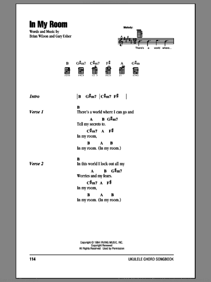 In My Room sheet music for ukulele (chords) by The Beach Boys, Brian Wilson and Gary Usher, intermediate skill level